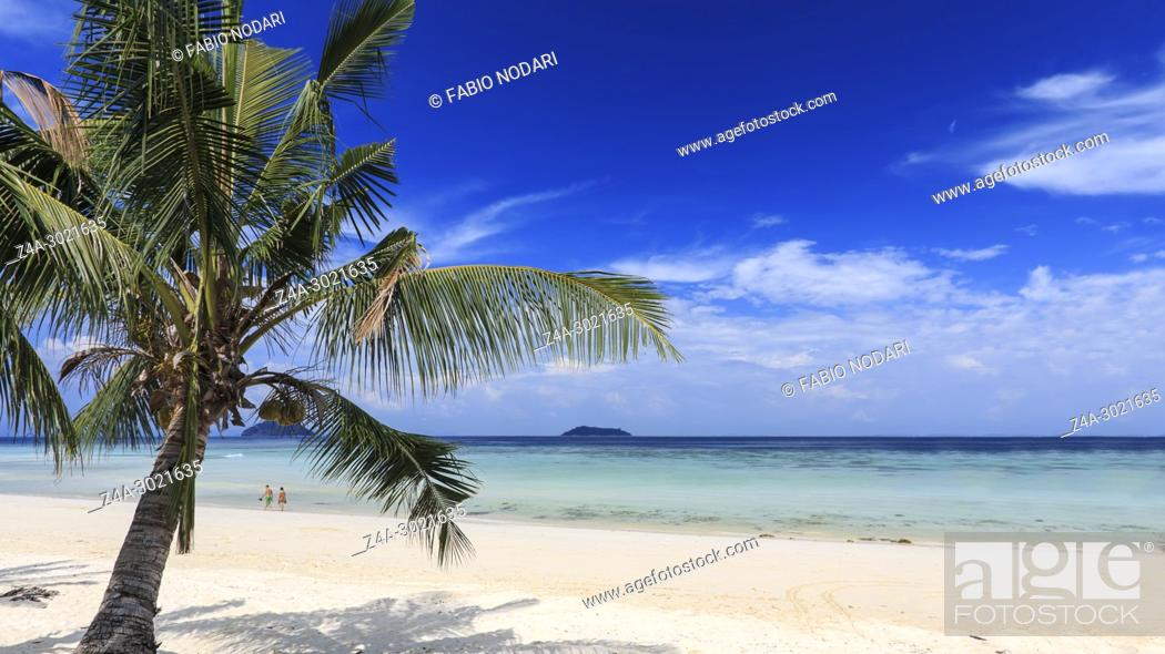 Stock Photo: Tropical beach with palm trees in Phi Phi Don Island in Krabi, Thailand.