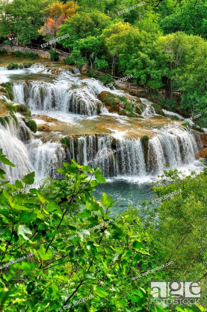 Stock Photo: Krka river waterfalls in the Krka National Park, Roski Slap, Croatia.