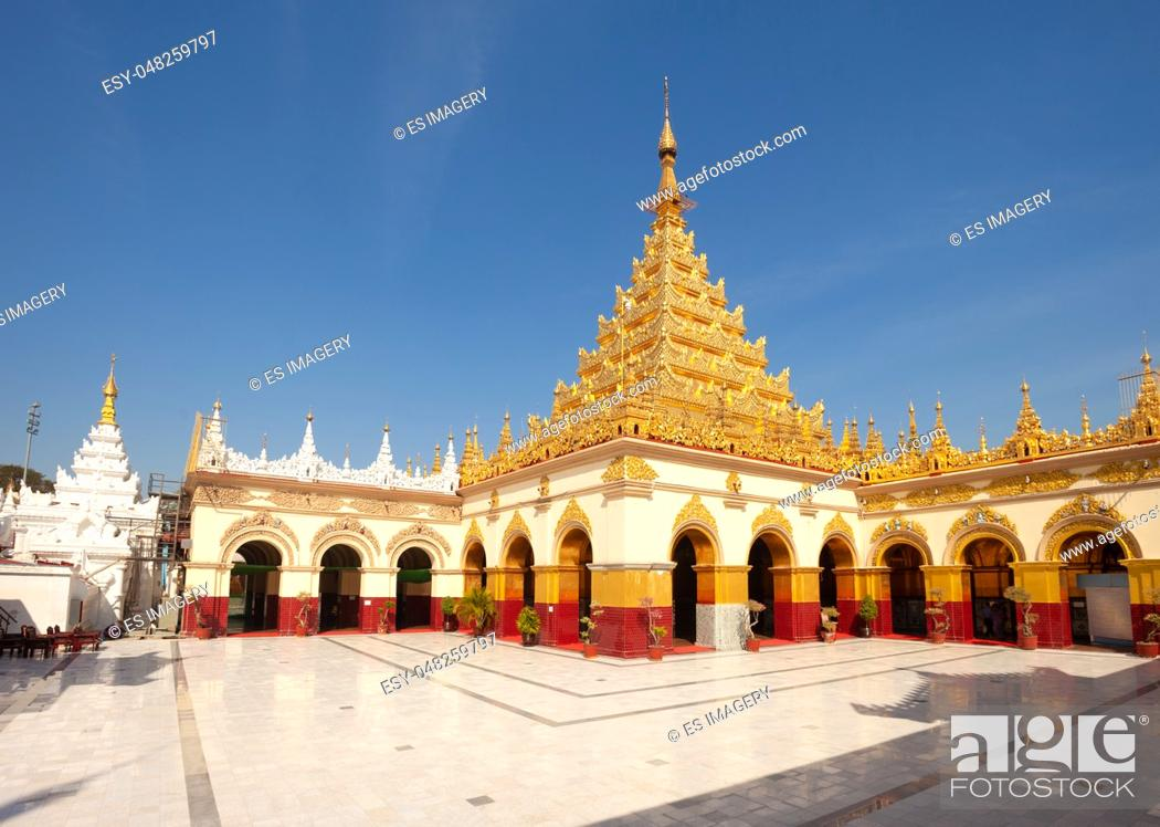 Stock Photo: The golden pagoda and courtyard at Mahamuni Paya temple, Mandalay, Myanmar.