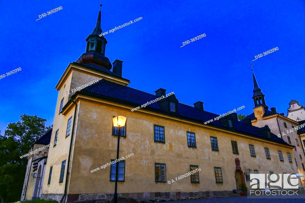 Stock Photo: Tyreso, Sweden The facade of the Tyreso Palace grounds at sunset, built in 1636.