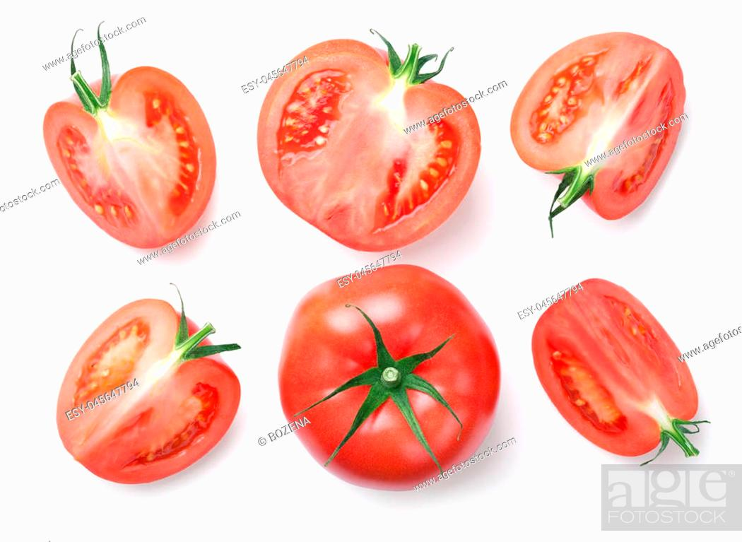 Photo de stock: Pink tomatoes isolated on white background. Top view.