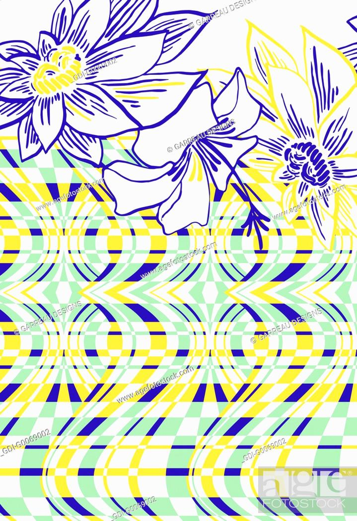Stock Photo: Tropical flowers and distorted line design.