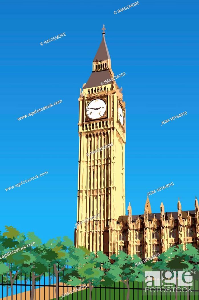 Stock Photo: United Kingdom, London, Big Ben, Capital Cities.