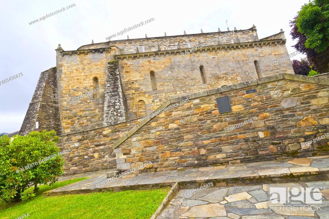 Stock Photo: Basilica of San Martiño de Mondoñedo, 9-12th Century Romanesque Style, Foz, Lugo, Galicia, Spain, Europe.