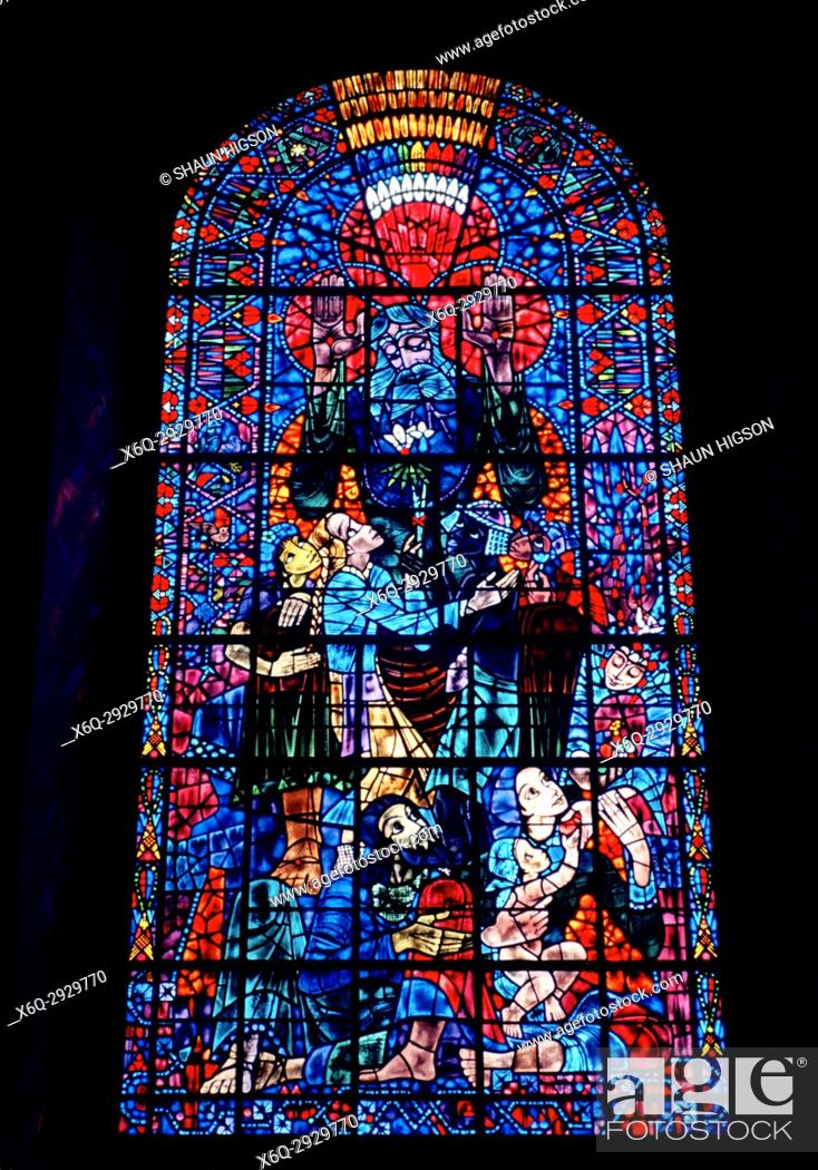 Imagen: Peace window by Bossanyi in Canterbury Cathedral in City of Canterbury in Kent in England in Great Britain in the United Kingdom UK Europe.