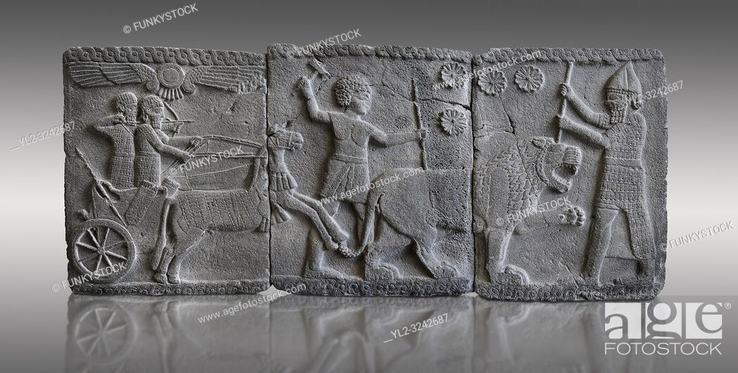 Stock Photo: Relief panels depicting a lion hunt found in the palace district in the ruins of Coba Hoyuk, also known as Sakçe Gözü or Sakcagozu.