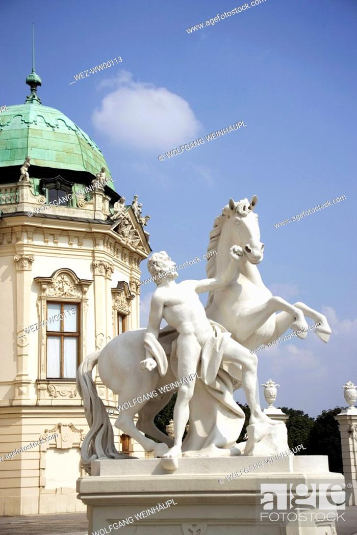 Stock Photo: Austria, Vienna, Belvedere Castle, Sculpture with horse.