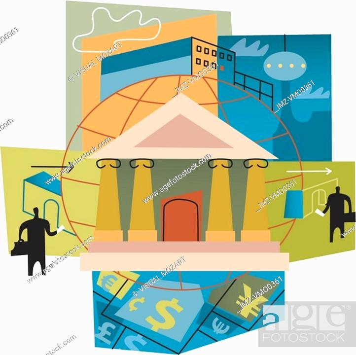 Stock Photo: International banking montage.