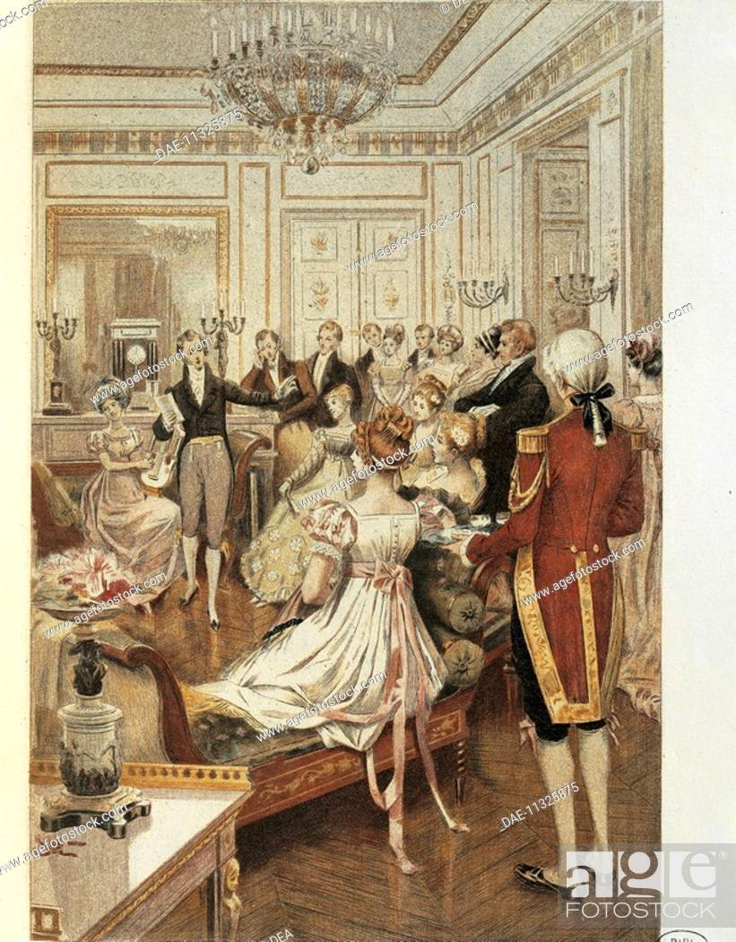 Stock Photo: Fashion under the Restoration period, illustration by Albert Lynch (1851-after 1900) from La Francaise du siecle (The French of the Century): fashion, manners.