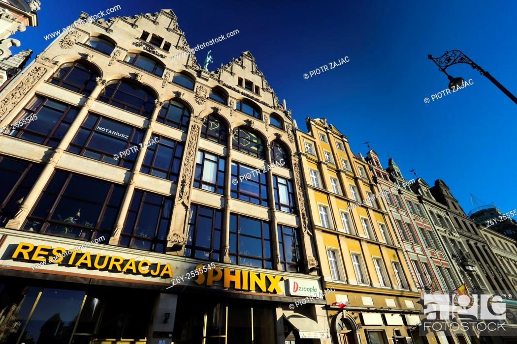 Stock Photo: Buildings at Market Square in Wroclaw, Poland.