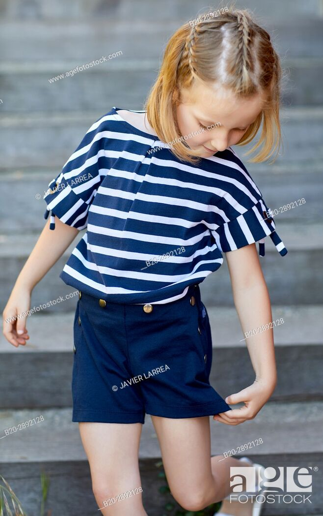 Stock Photo: Girl, Mollarri Interpretation Center, Marine clothing, Zarautz, Gipuzkoa, Basque Country, Spain, Europe.