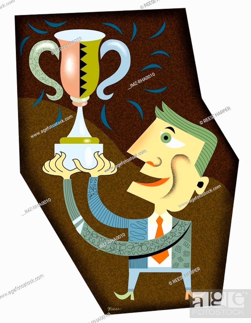 Stock Photo: Businessman holding trophy.