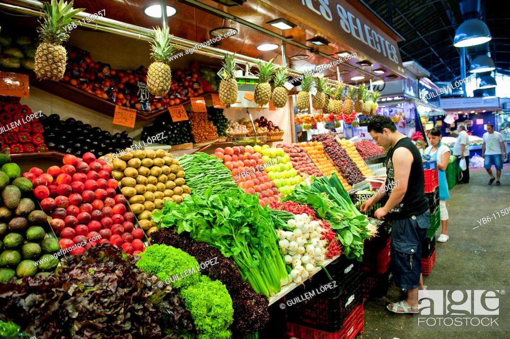 Stock Photo: Fresh Fruit ang Vegetable shop the market of La Boqueria in las Ramblas of Barcelona, Spain.