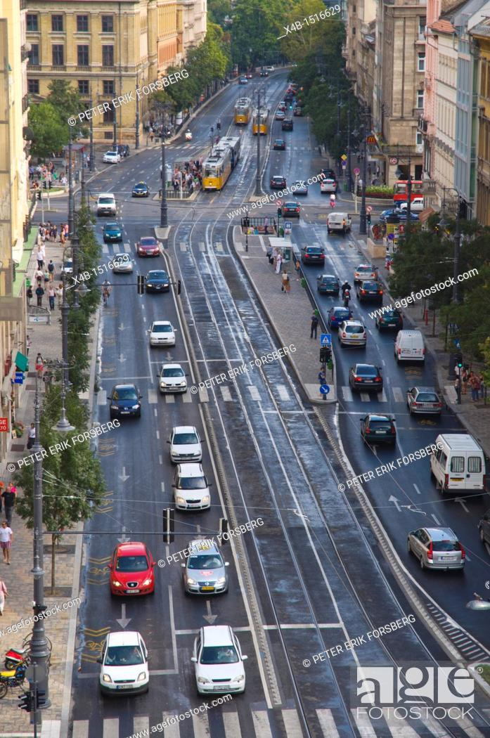 Stock Photo: Aerial view of recently renovated Karoly Korut boulevard street central Budapest Hungary Europe.