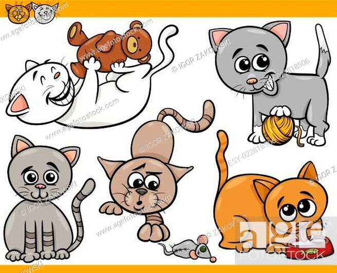 Stock Vector: happy cats cartoon illustration set.