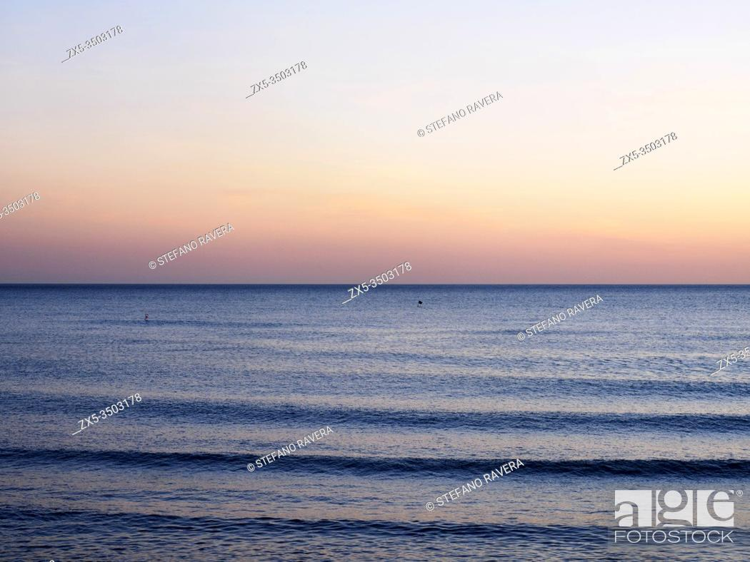 Stock Photo: horizon on Tyrrhenian Sea - Lido di Ostia - Rome, Italy.