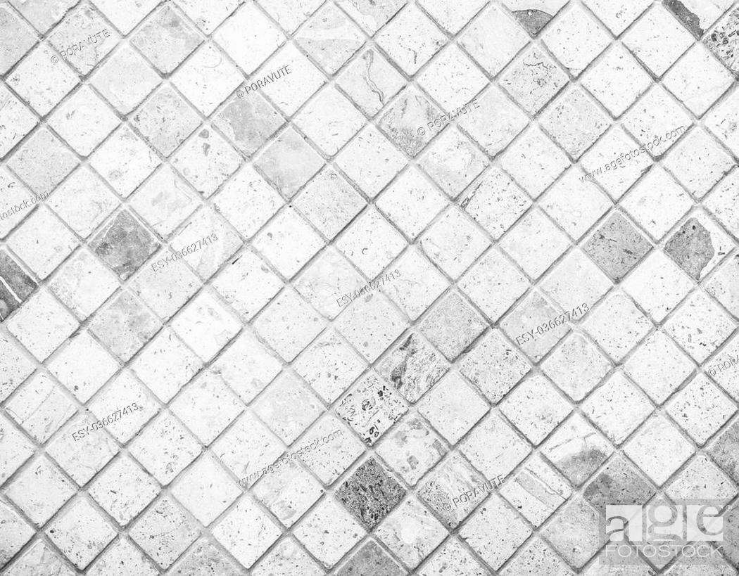 Stock Photo: Abstract marble textured mosaic tiles in black and white tone.