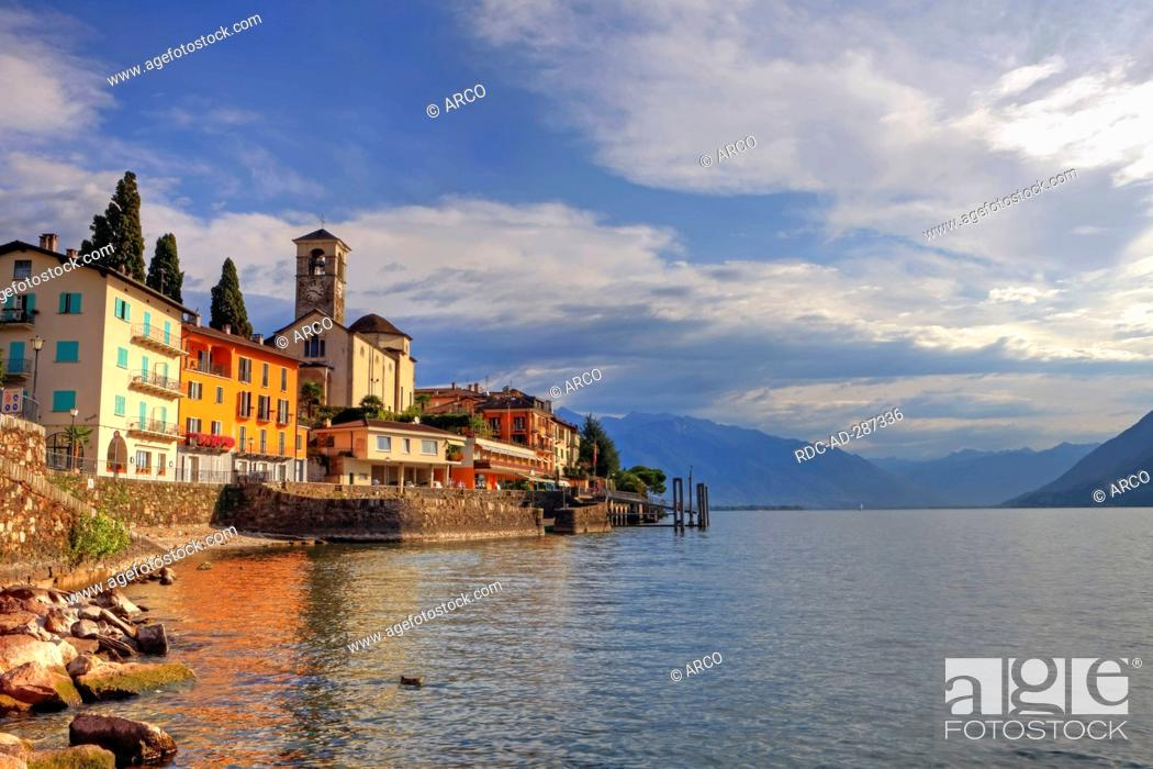 Stock Photo: Old part of town, Brissago, Lago Maggiore, Ticino, Switzerland.