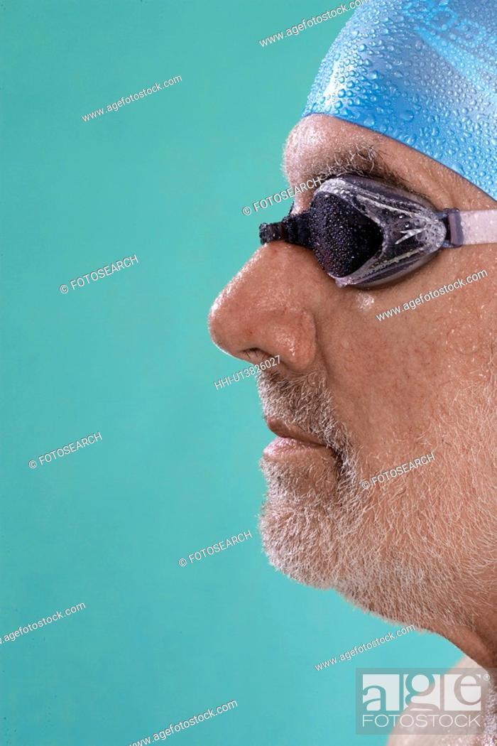 Stock Photo: Profile of senior male swimmer.