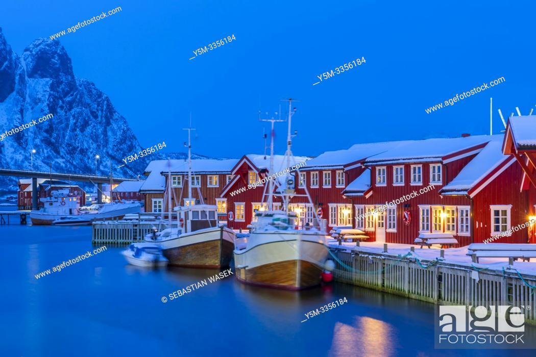 Stock Photo: The harbour of Svolvaer, Austvagoya, Lofoten, Nordland, Norway, Europe.