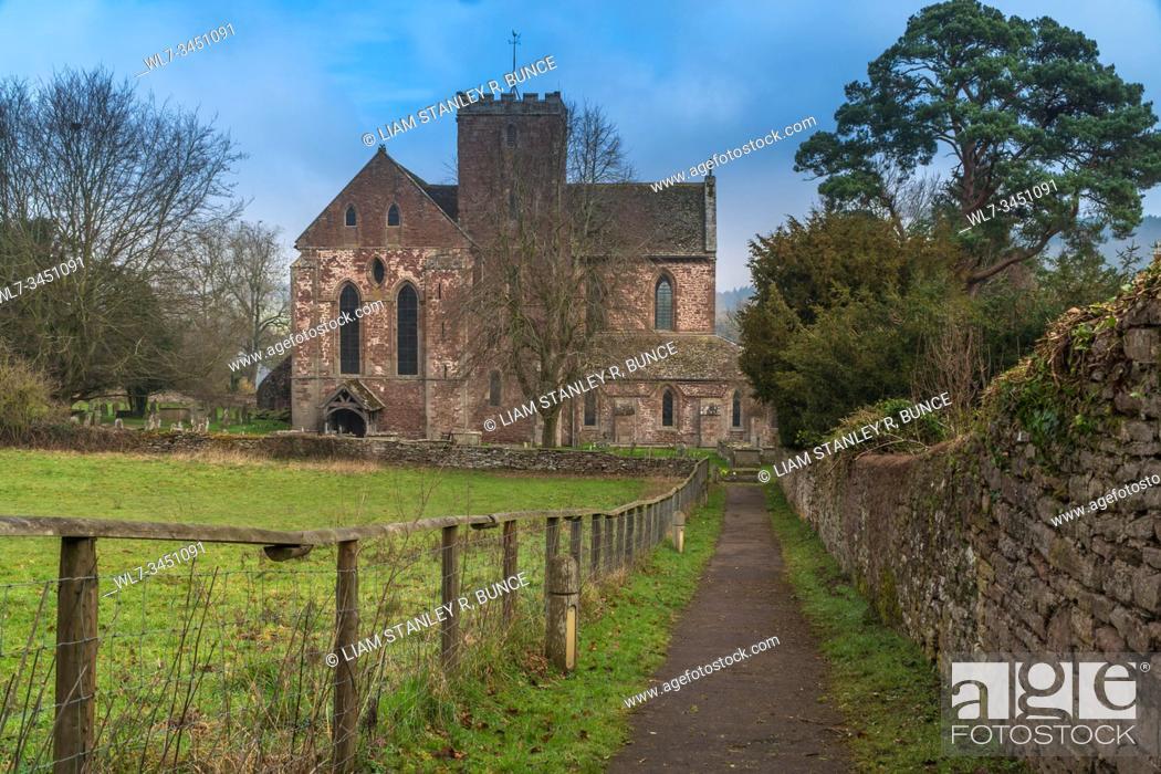 Stock Photo: Dore Abbey the Parish Church of Holy Trinity and St Mary, Abbey Dore Herefordshire UK. February 2019.