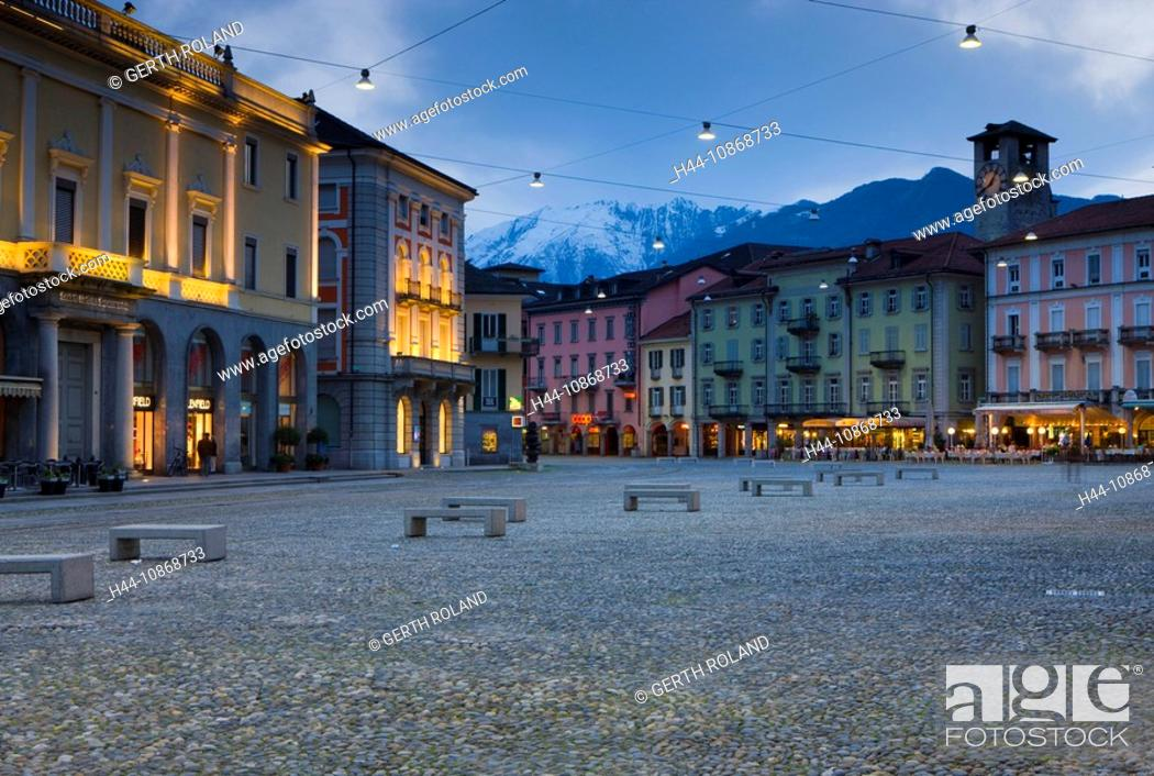 Stock Photo: 10868733, Locarno, Switzerland, canton, Ticino, town, city, houses, homes, lighting, illumination, dusk, twilight, place, space, Piazza Grande.