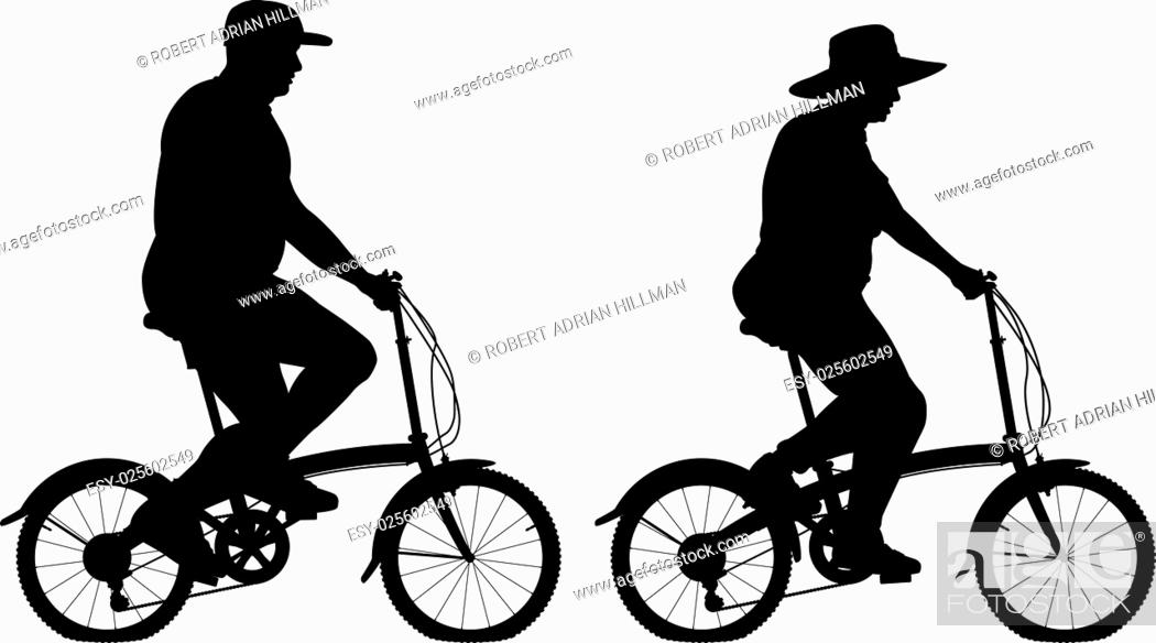 Stock Vector: Editable vector silhouettes of an overweight couple riding small bicycles for exercise with people, bicycles and hats as separate objects.