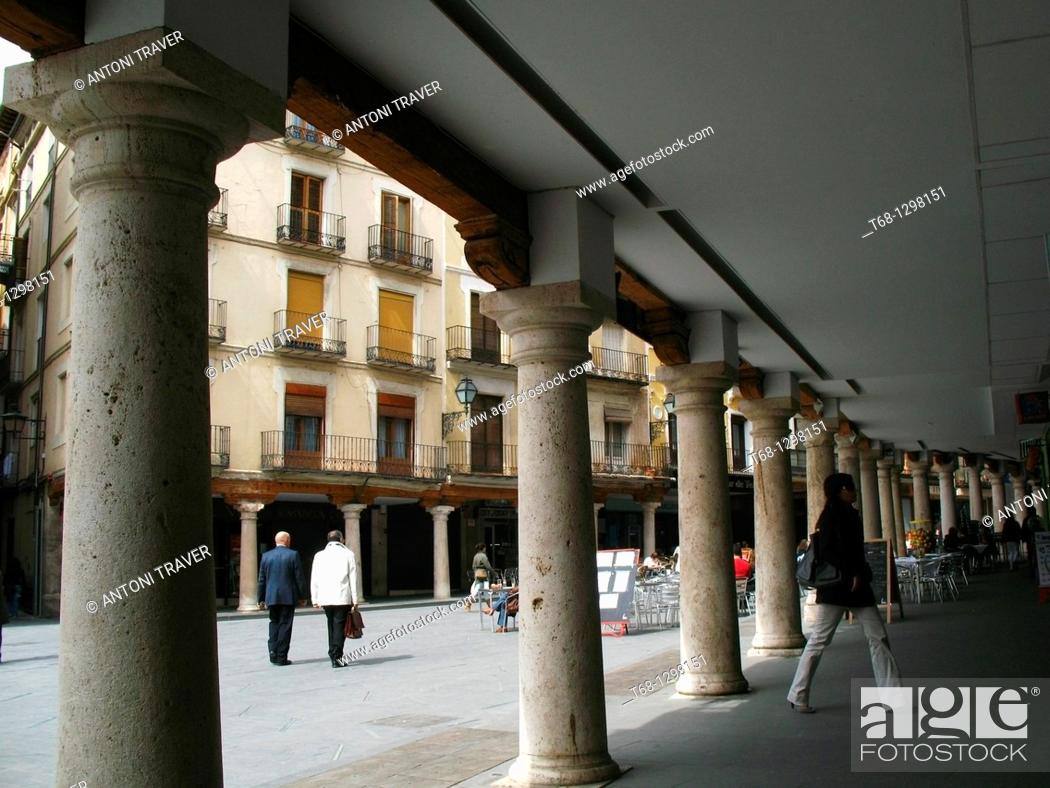 Stock Photo: Arcade, Plaza del Torico, Teruel, Aragon, Spain.