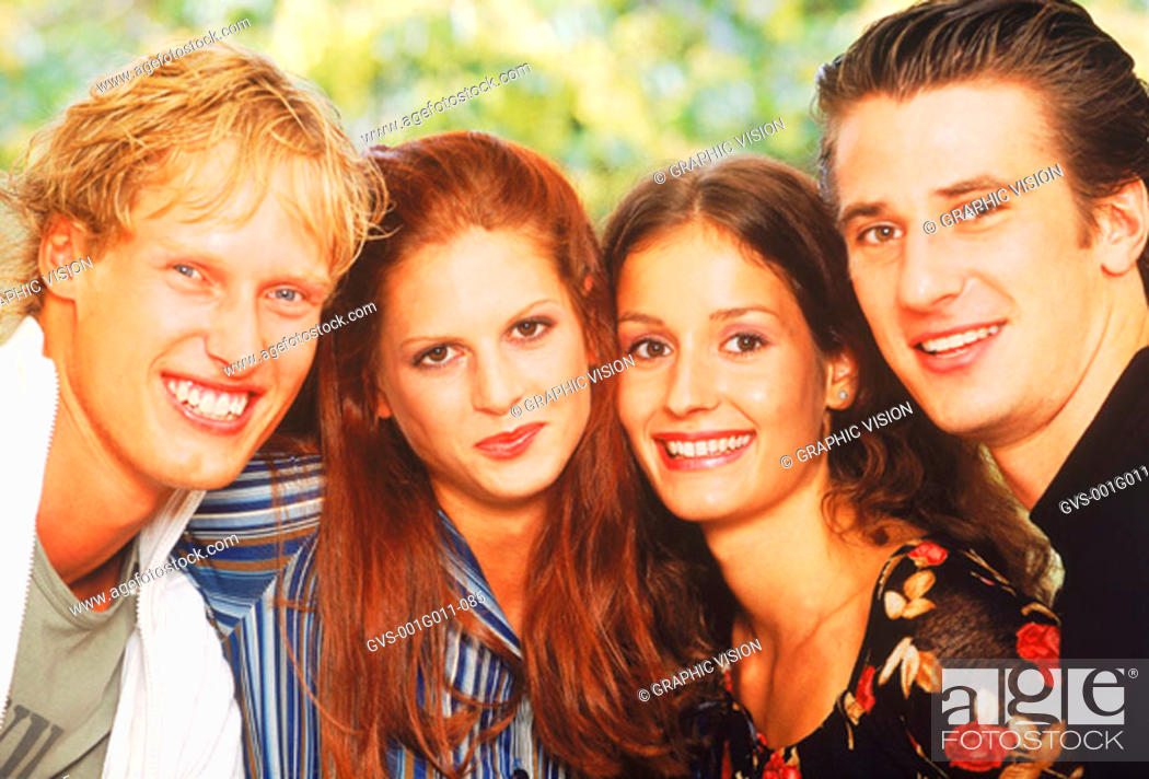 Stock Photo: Portrait of a young group of people looking at camera.