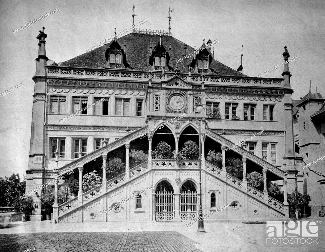 Stock Photo: One of the first autotype prints, town hall of bern, berne, historic photograph, 1884, switzerland, europe.