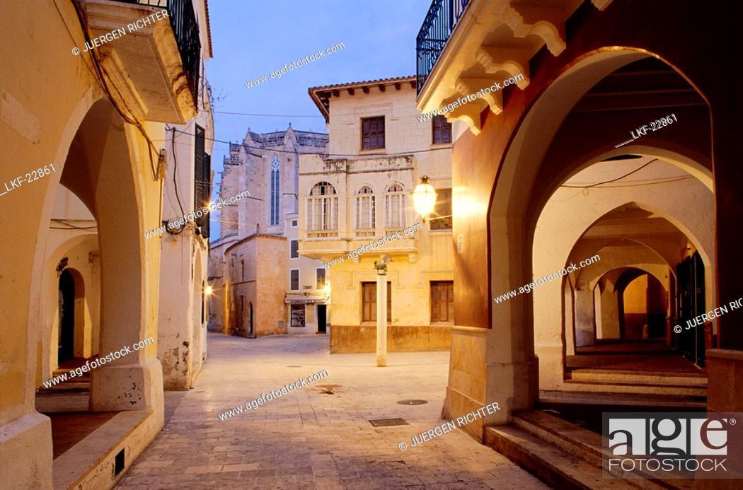 Stock Photo: Square with archway, old town, Ciutadella, Menorca, Minorca, Balearic Islands, Spain.