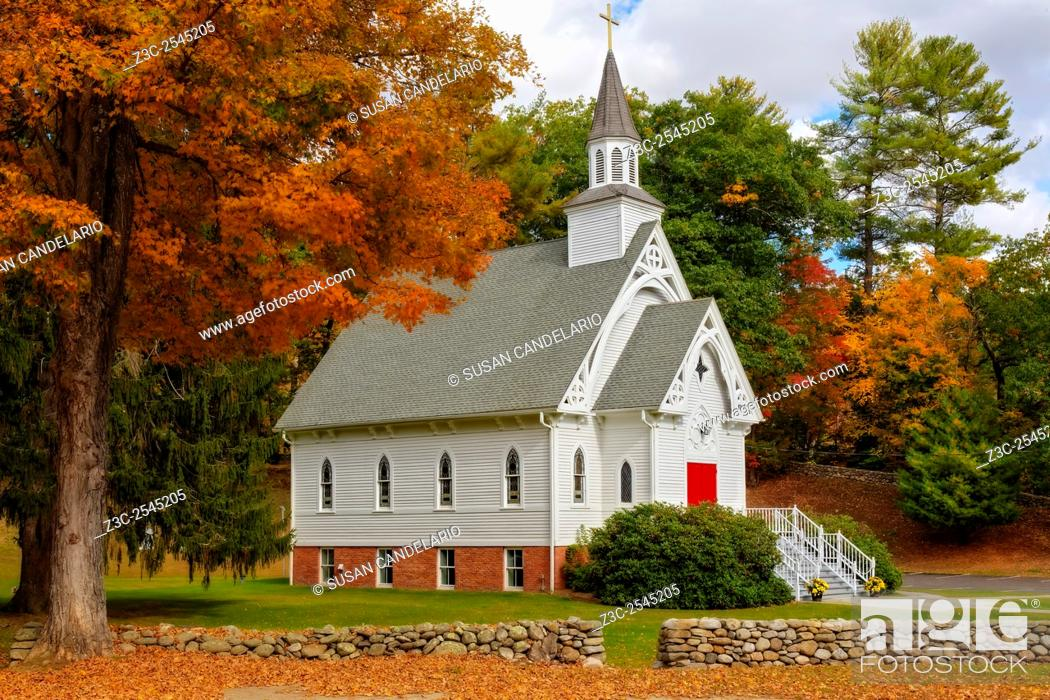 Stock Photo: Saint Bridget Cornwall CT - It stands today as it did more than one hundred years ago after withstanding the harsh winter storms that are common in CT.