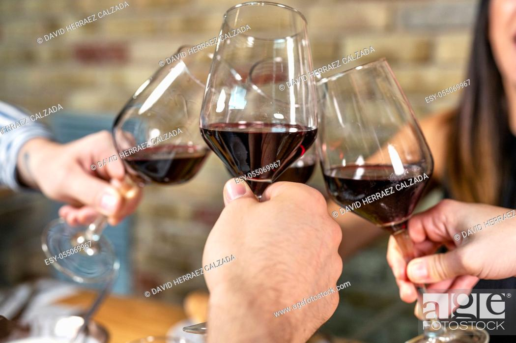 Stock Photo: Celebration. Group of friends holding The Glasses Of Wine Making A Toast. High quality photo.