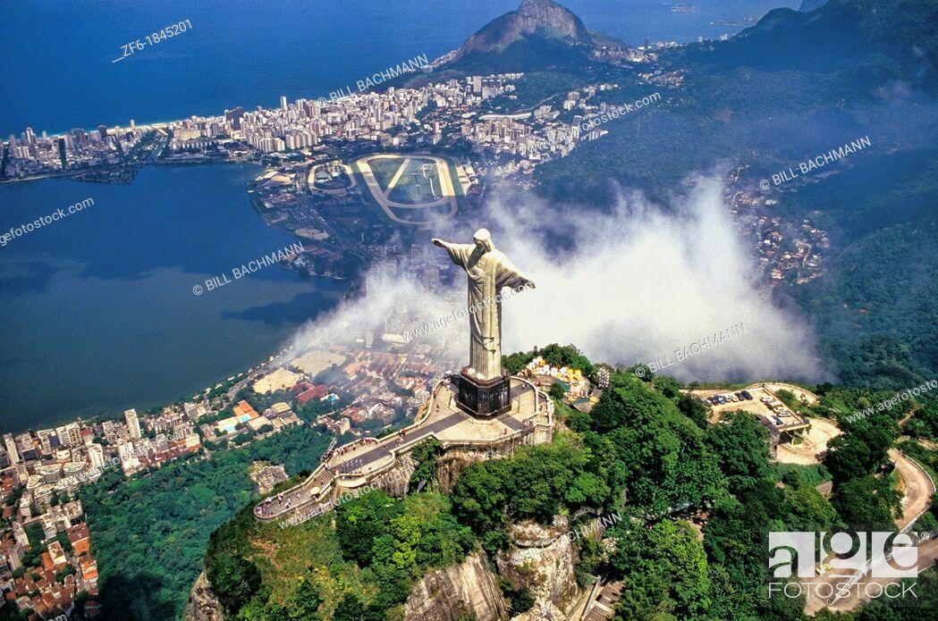 Stock Photo: Corcovado Christ Statue - Aerial of Rio de Janeiro, Brazil.