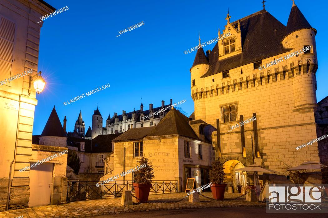 Stock Photo: The Porte des Cordeliers and the Chateau de Loches in the background, Loches, Label City and Country of Art and History, Indre-et-Loire Department.
