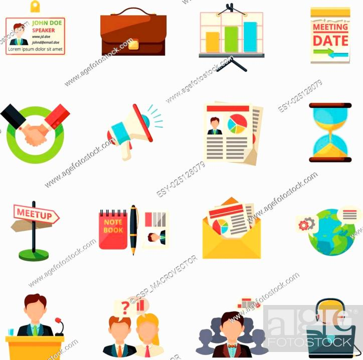 Stock Vector: Meeting icons flat.