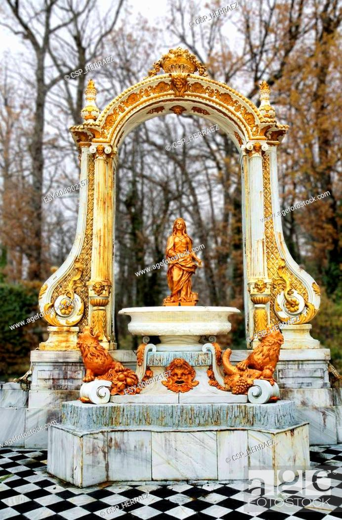 Stock Photo: Fountain at palace gardens of La Granja de san Ildefonso , Segovia castile and Le?n Spain.