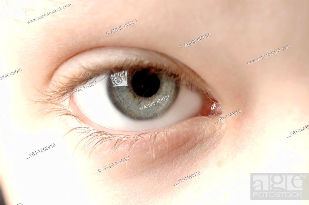 Stock Photo: Close Up Macro Photo An Eleven Year Old Boy's Eye.
