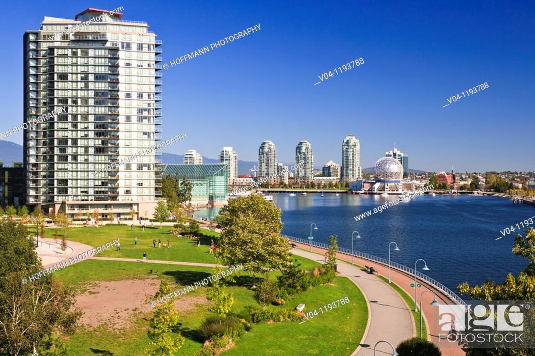 Stock Photo: World Science Center and skyline of Vancouver, British Columbia, Canada.