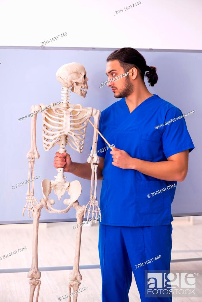 Imagen: Young lecturer with skeleton in front of whiteboard.