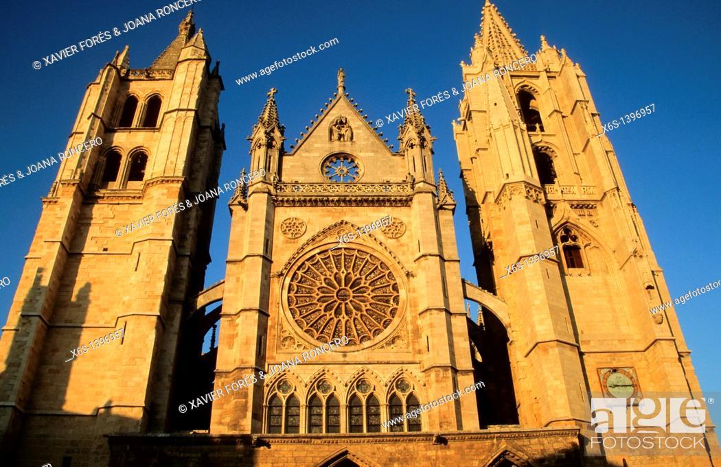 Stock Photo: Cathedral of León, León, Spain.