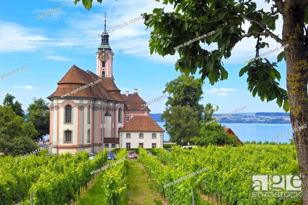 Stock Photo: Birnau, Monastery Birnau, Birnau sanctuary, Marian pilgrimage church, Baden-Wuerttemberg, Germany, Lake constance, Bodensee, Europe.