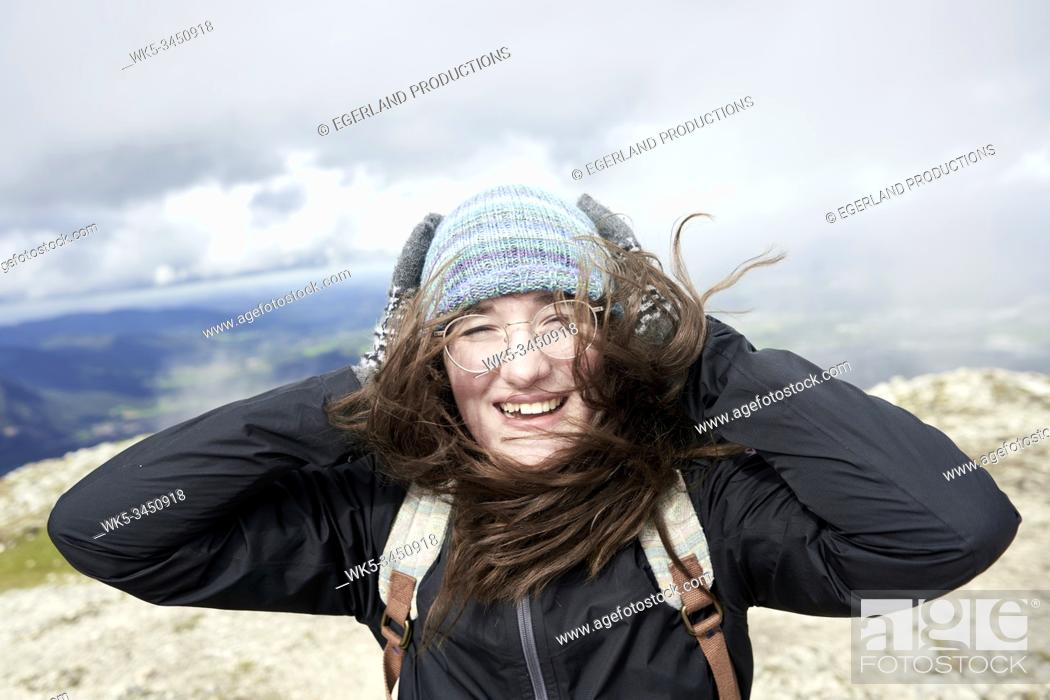 Stock Photo: excited woman hiking.