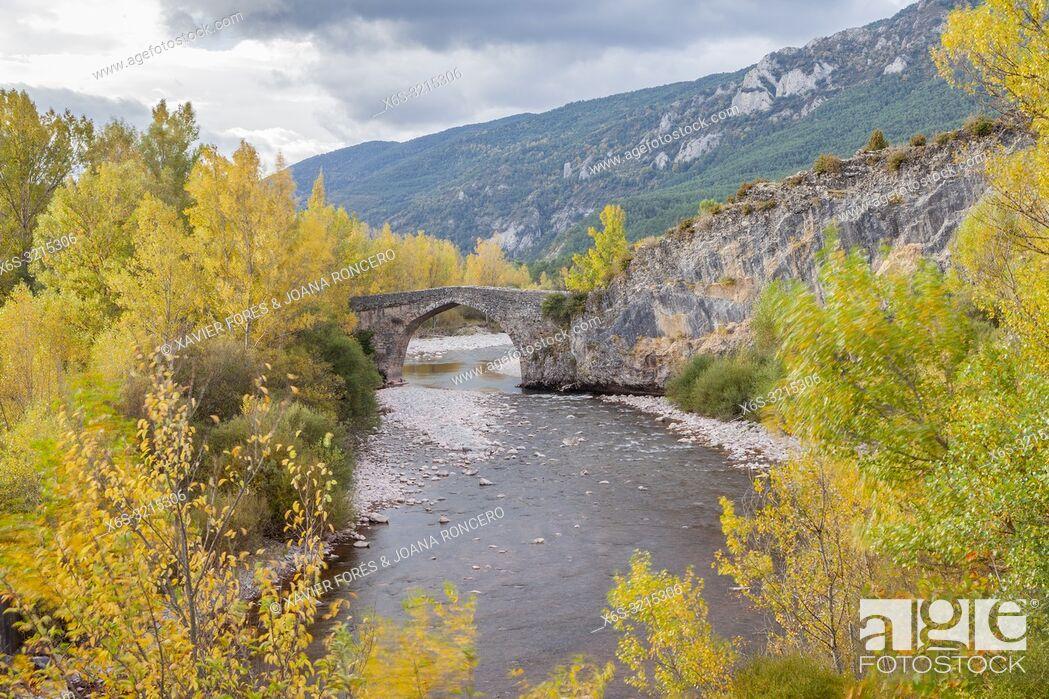 Stock Photo: Torres Bridge, Hecho Valley, Huesca, Spain.