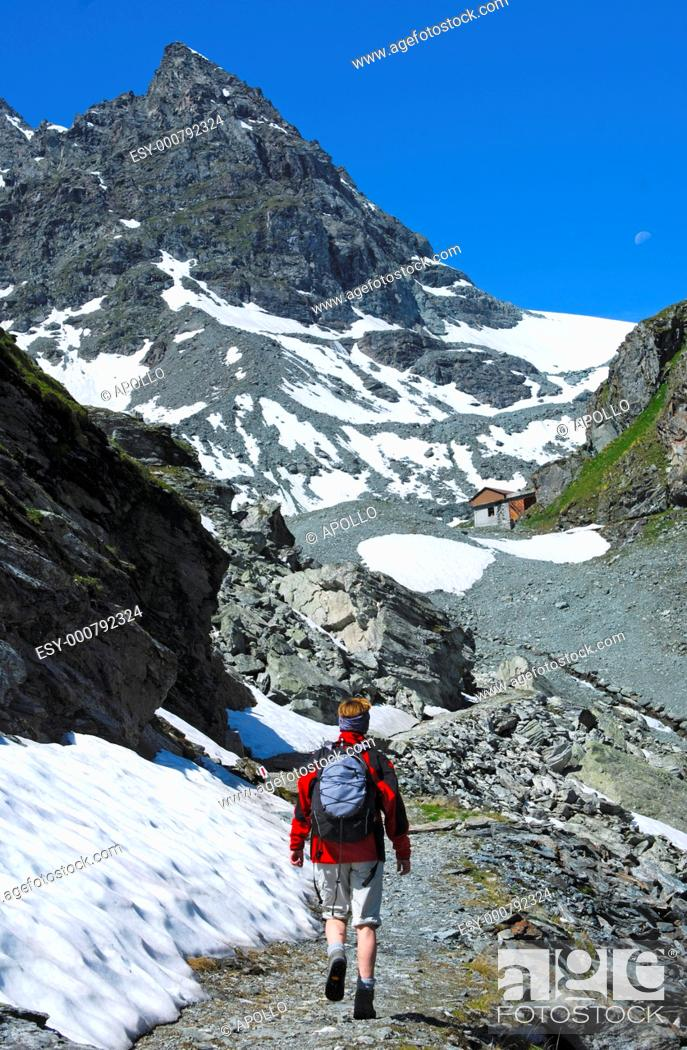 Stock Photo: Hiking in the mountains of the Pennine Alps, Valais, Switzerland.