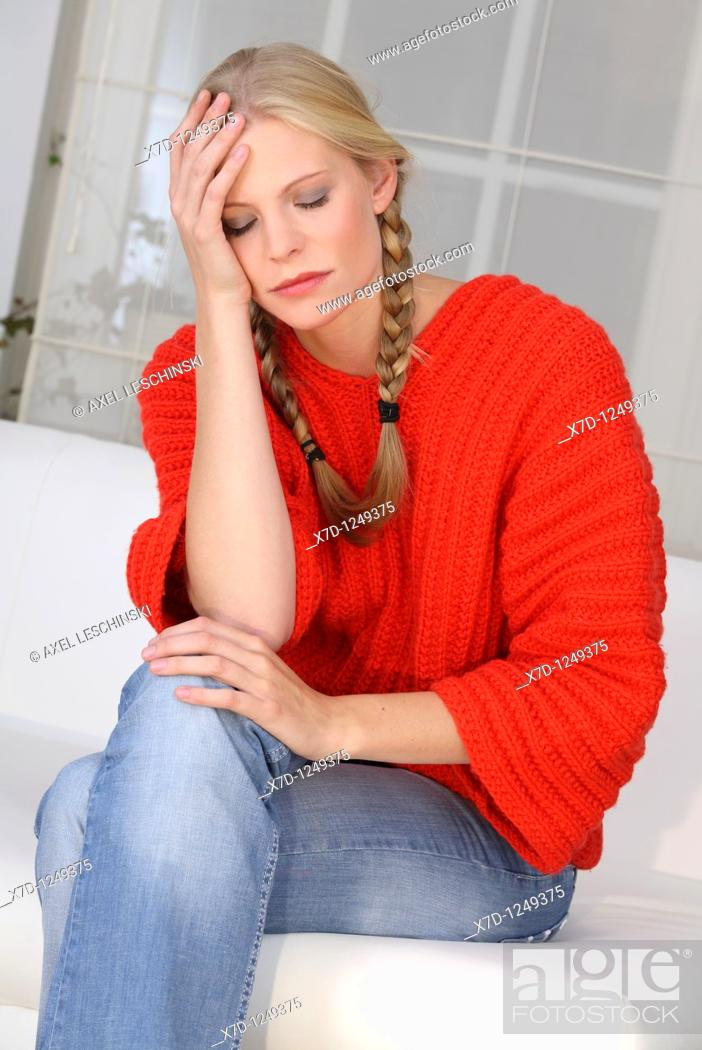 Stock Photo: woman thinking about problems.