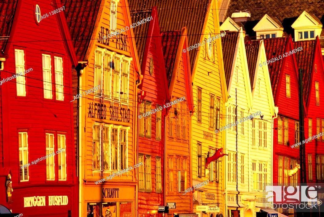Stock Photo: Houses in the old pier  Bryggen  Bergen  Hordaland Norway.