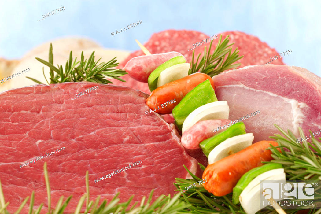 Stock Photo: Meat and skewer still life.