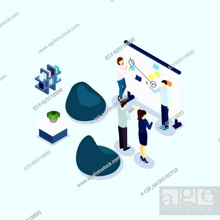 Stock Vector: Coworking Space Environment Office Isometric Banner.