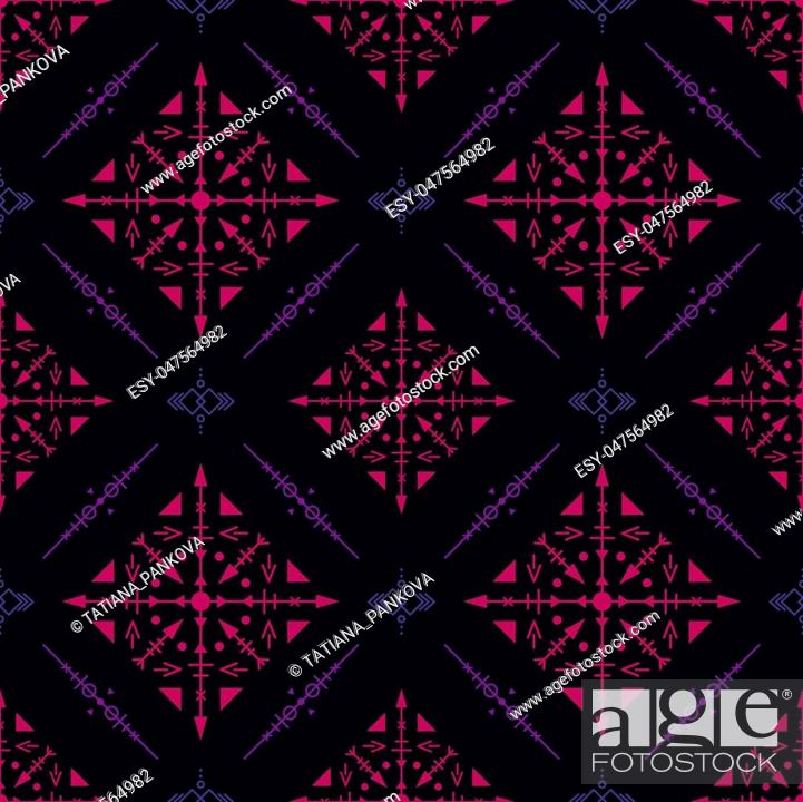 Stock Vector: Dark seamless pattern with fuchsia tribal ornaments.